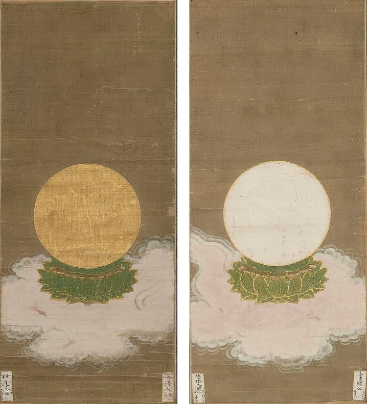 二尊院《二十五菩薩来迎図》のうち、日輪と月輪を描いた幅