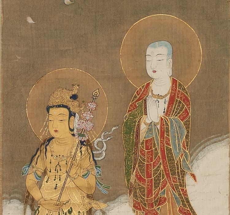 二十五菩薩は皆金色ですが、地蔵菩薩と竜樹菩薩(右)の肌は、白で表されています